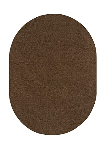 Ambiant Saturn Collection Pet Friendly Indoor Outdoor Area Rug Chocolate – 6 x9 Oval Non Slip Backing
