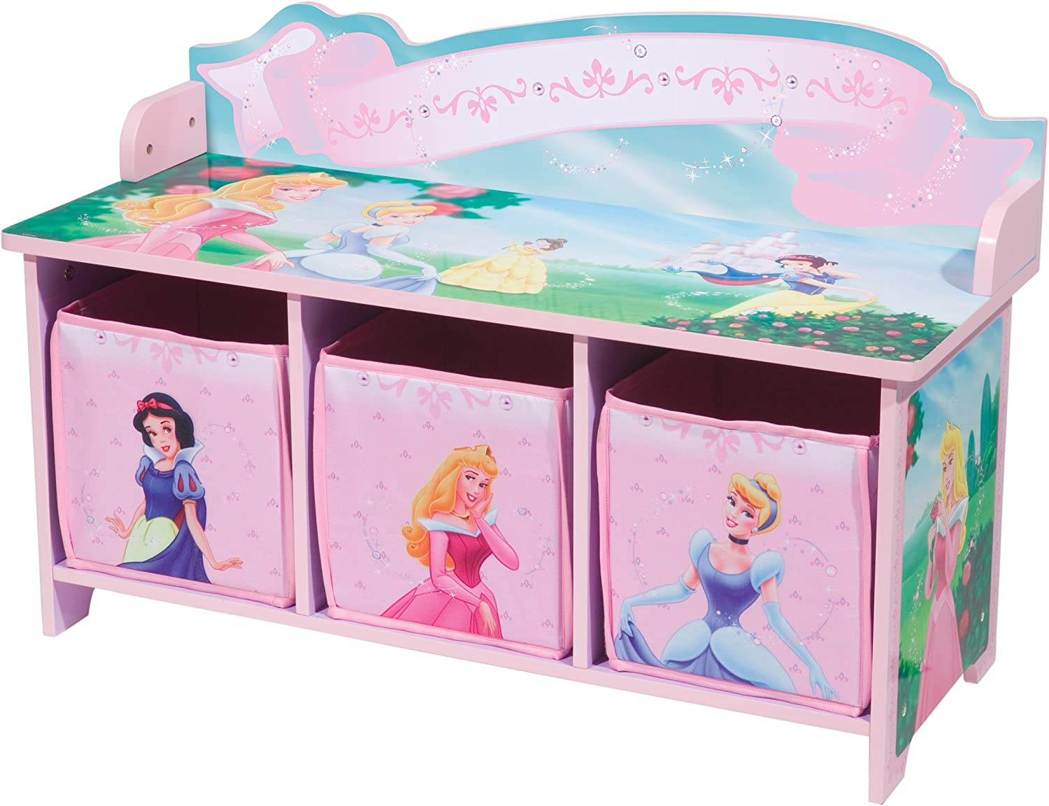 Amazon.com: Delta Enterprise Disney Princess 3 Bin Storage Toy Bench: Toys  U0026 Games