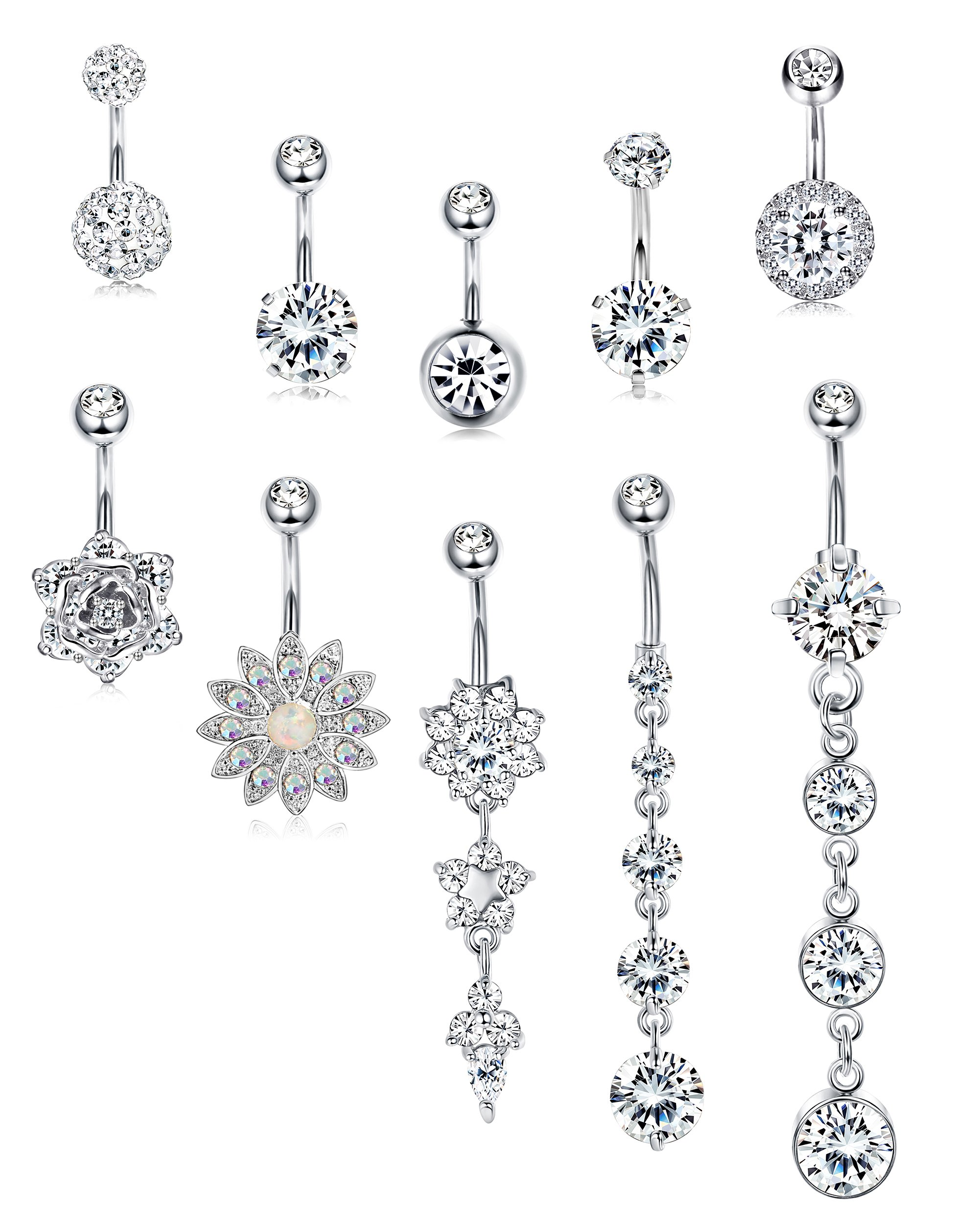 JOERICA 3-6PCS 14G Stainless Steel Belly Button Rings Navel Body Jewelry Belly Piercing CZ Inlaid (G:10Pcs,Silver-Tone) by JOERICA