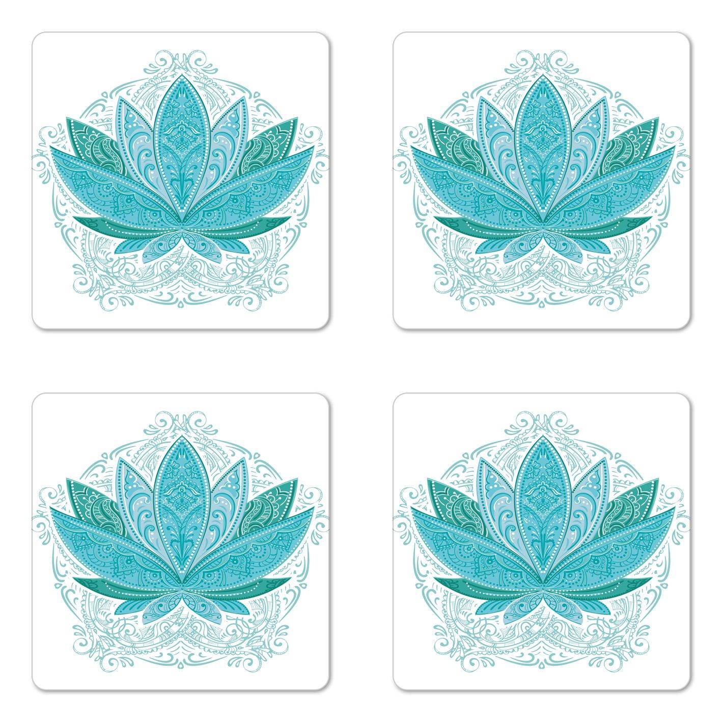 Ambesonne Lotus Coaster Set of 4, Lotus Flower with