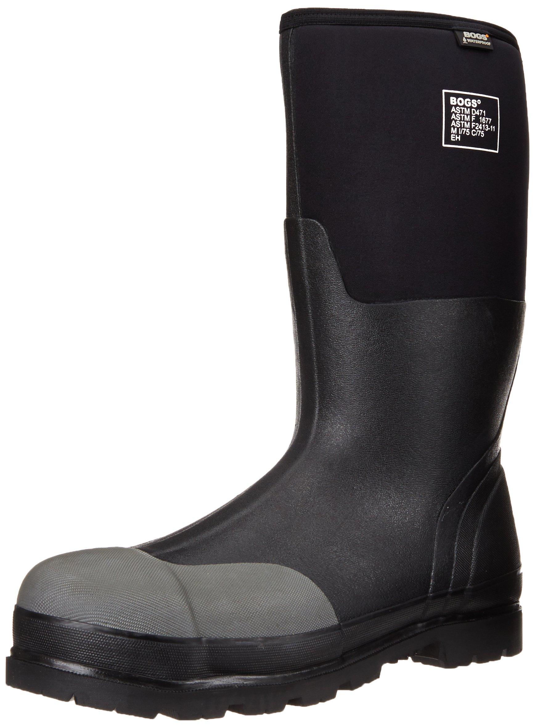 Bogs Men's Forge Tall Industrial Steel Toe Work Rain Boot, Black, 13 D(M) US by Bogs