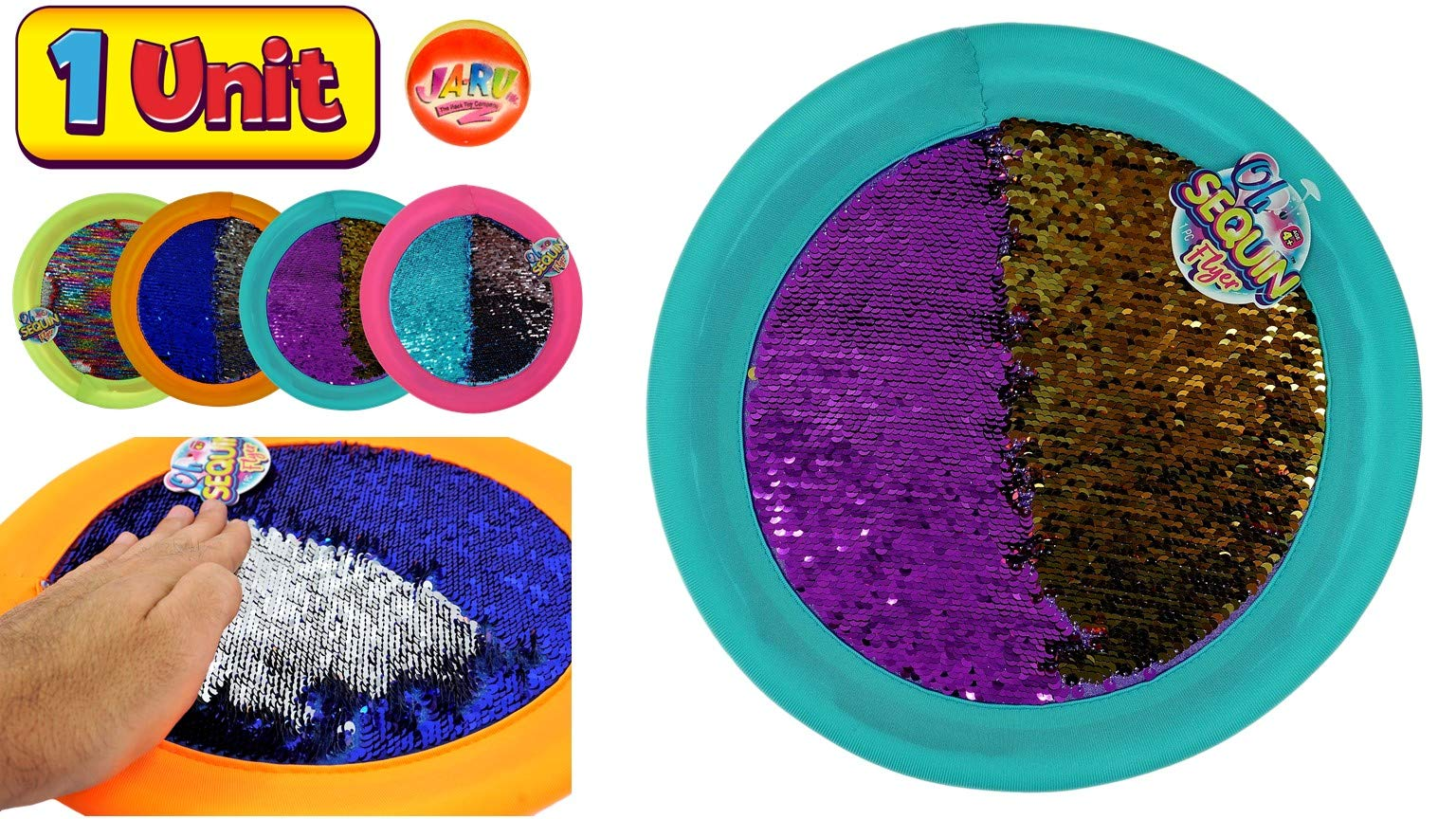 JA-RU Soft Flying Disc Wet or Dry Safe 11'' (1 Pack) Frisbees with Sequin Shimmery Material, Kids & Adults Toys Games for Beach Lake Pool Playground & Outdoors Party Plus 1 Bouncy Ball. 4637-1P by JA-RU