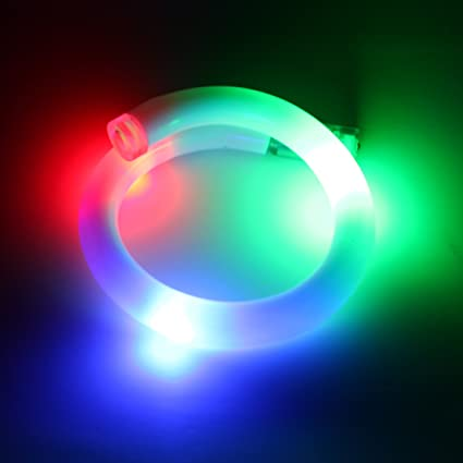 Light Up Flashing LED Bracelet Party Bright Green Red Blue White