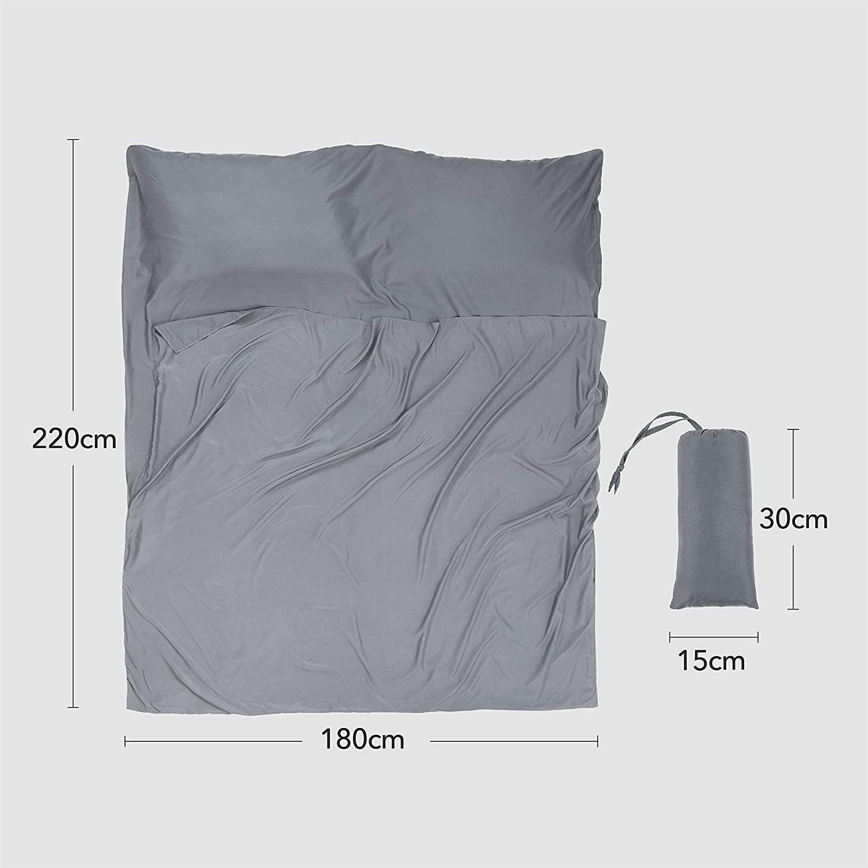 Saco de Dormir Suave de Doble tamaño - sábana de Viaje Ligera para Acampada, Saco de Dormir para Evitar Que se ensucie en el Hotel de Negocios, Color Gris, ...