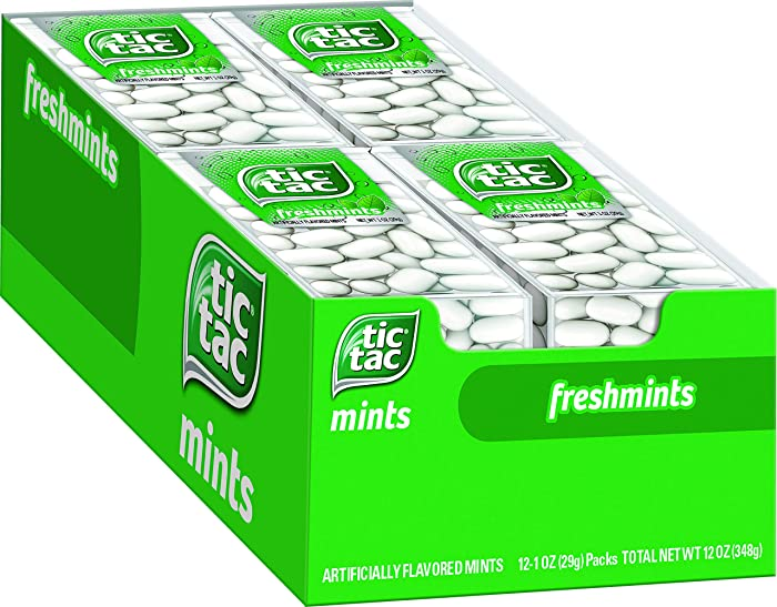 Tic Tac Fresh Breath Mints, Freshmint, Bulk Hard Candy Mints, 1 oz Singles, 12 Count