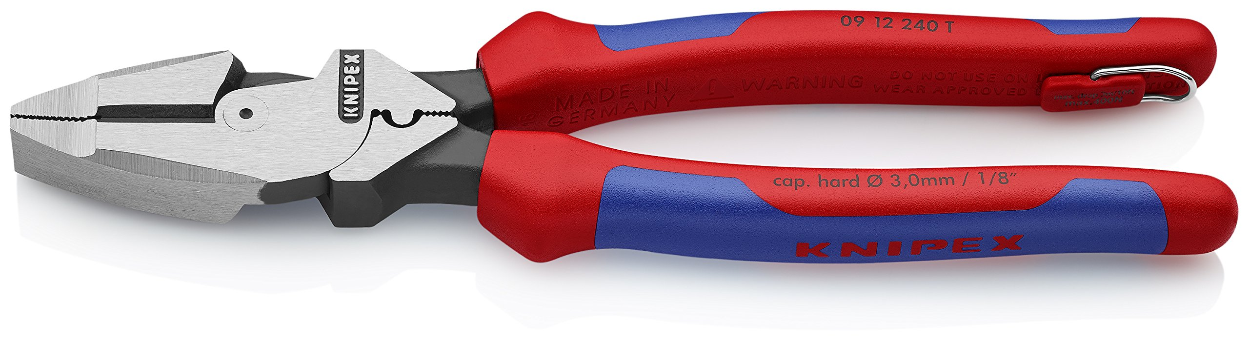 Knipex Tools 09 12 240 T BKA 9 1/4'' Ultra-High Leverage Lineman's Pliers with Fish Tape Puller, Crimper, Tether Attachment