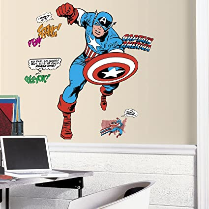 e2b4cc038e6 Image Unavailable. Image not available for. Color  RoomMates RMK3254GM  Classic Captain America Comic Peel and Stick Giant Wall Decals