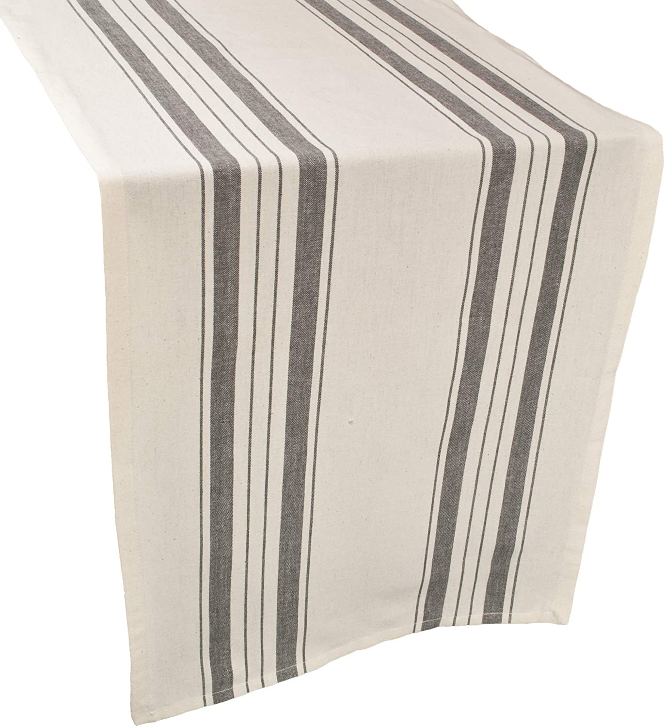 Linens, Art and Things Cotton Table Runner, Dresser Scarf, Coffee Table Runner, 16.5 x 88.5 Inch in Gray Beige Farmhouse Rustic Decor