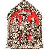 Little India Antique White Metal Lord Ram Darbar Idol (25.4 cm x 15.24 cm, Silver, HCF360)