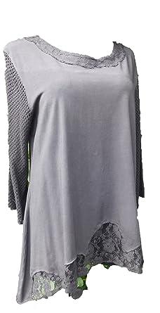 Tunika Shirt Edelshirt Cotton 3 4 Arm lang A-Stil grau Spitze Stoffmix  Lagenlook 6323056385
