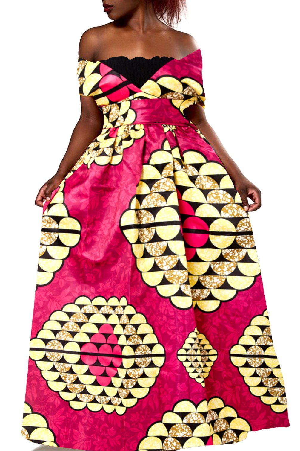Uideazone Womens African Dress Formal Prom Dashiki Print Sleeveless Peplum Maxi Dress