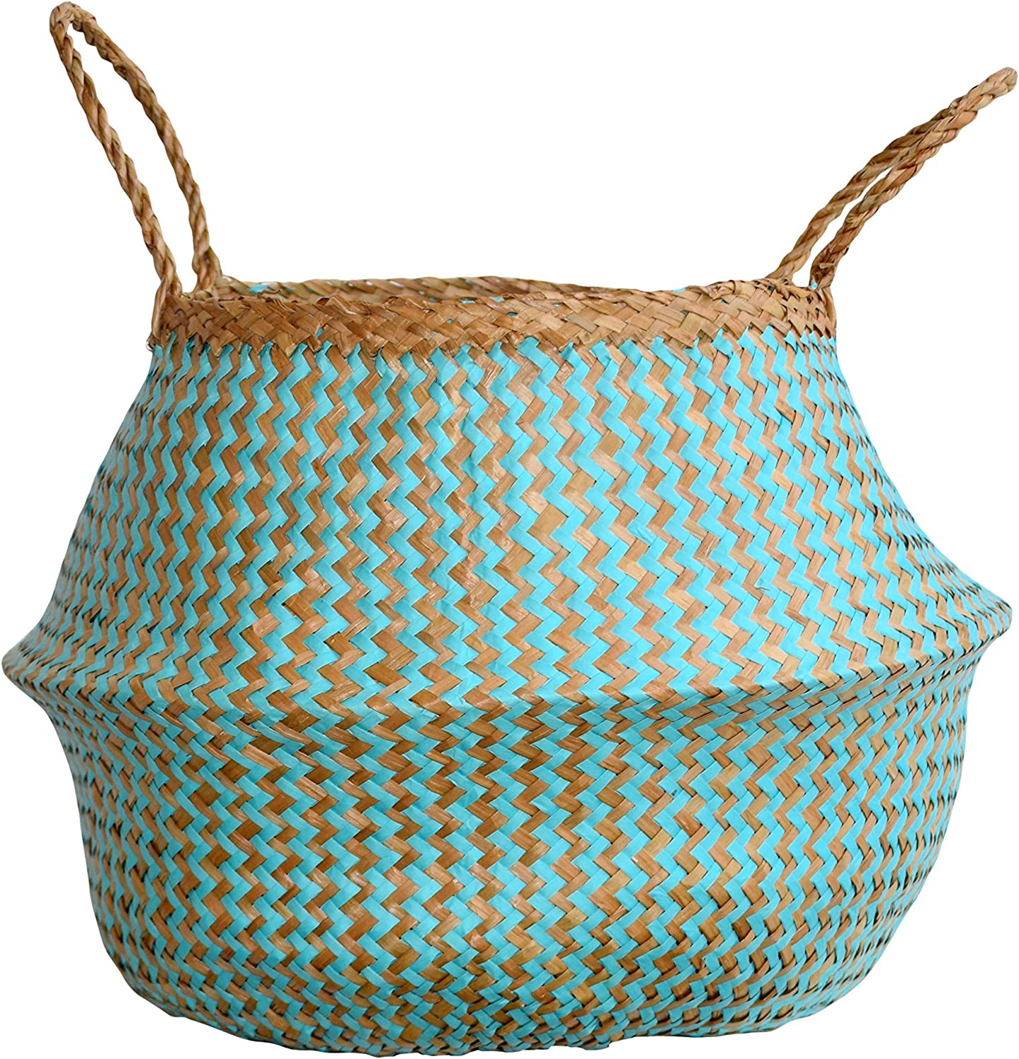 DUFMOD Large Natural and Plush Woven Seagrass Tote Belly Basket for Storage, Laundry, Picnic, Plant Pot Cover, and Beach Bag (Plush Zigzag Chevron Seagrass Aquamarine, Large)