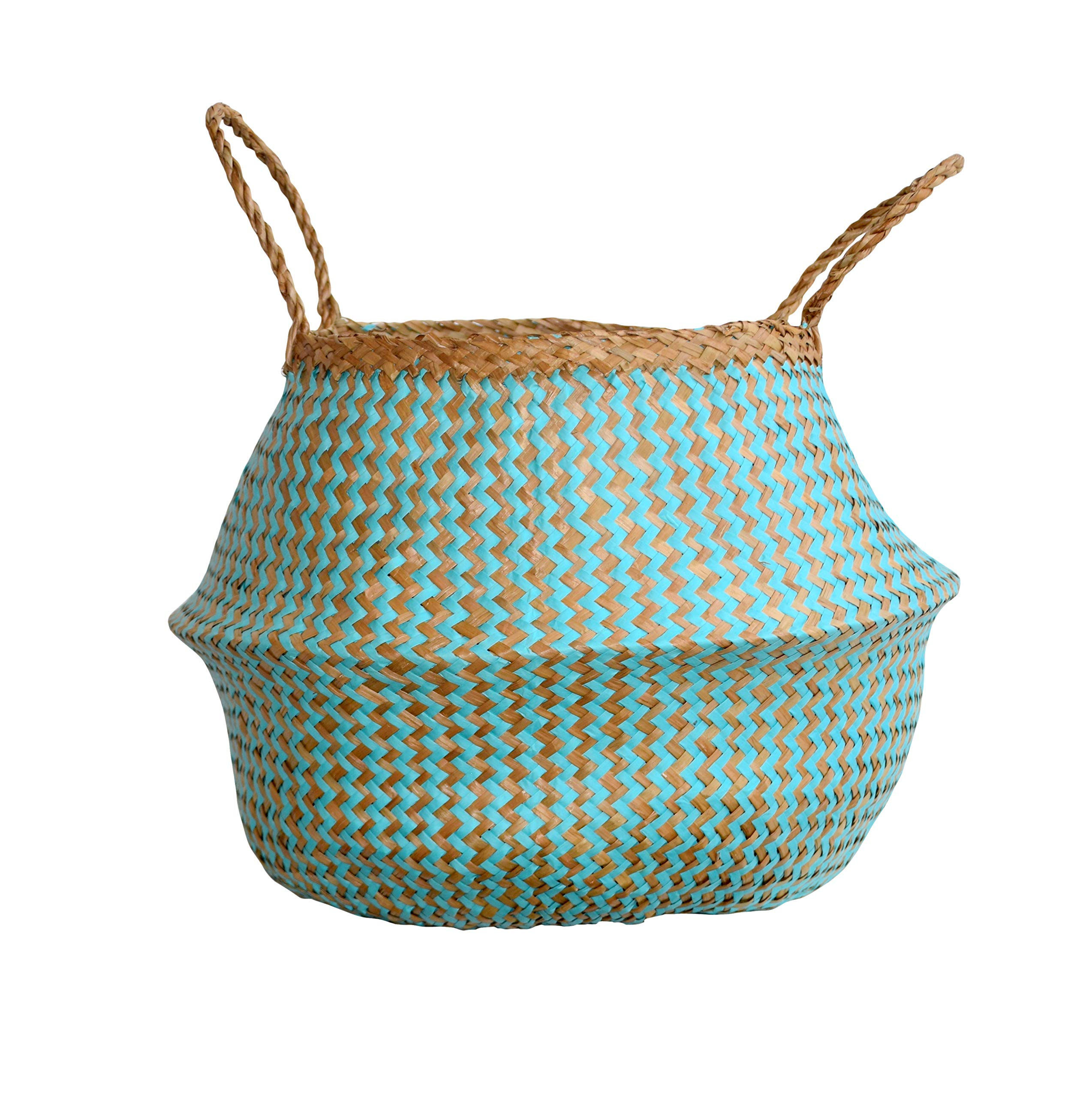 DUFMOD Small Natural and Plush Woven Seagrass Tote Belly Basket for Storage, Laundry, Picnic, Plant Pot Cover, and Beach Bag (Plush Zigzag Chevron Seagrass Aquamarine, Small)