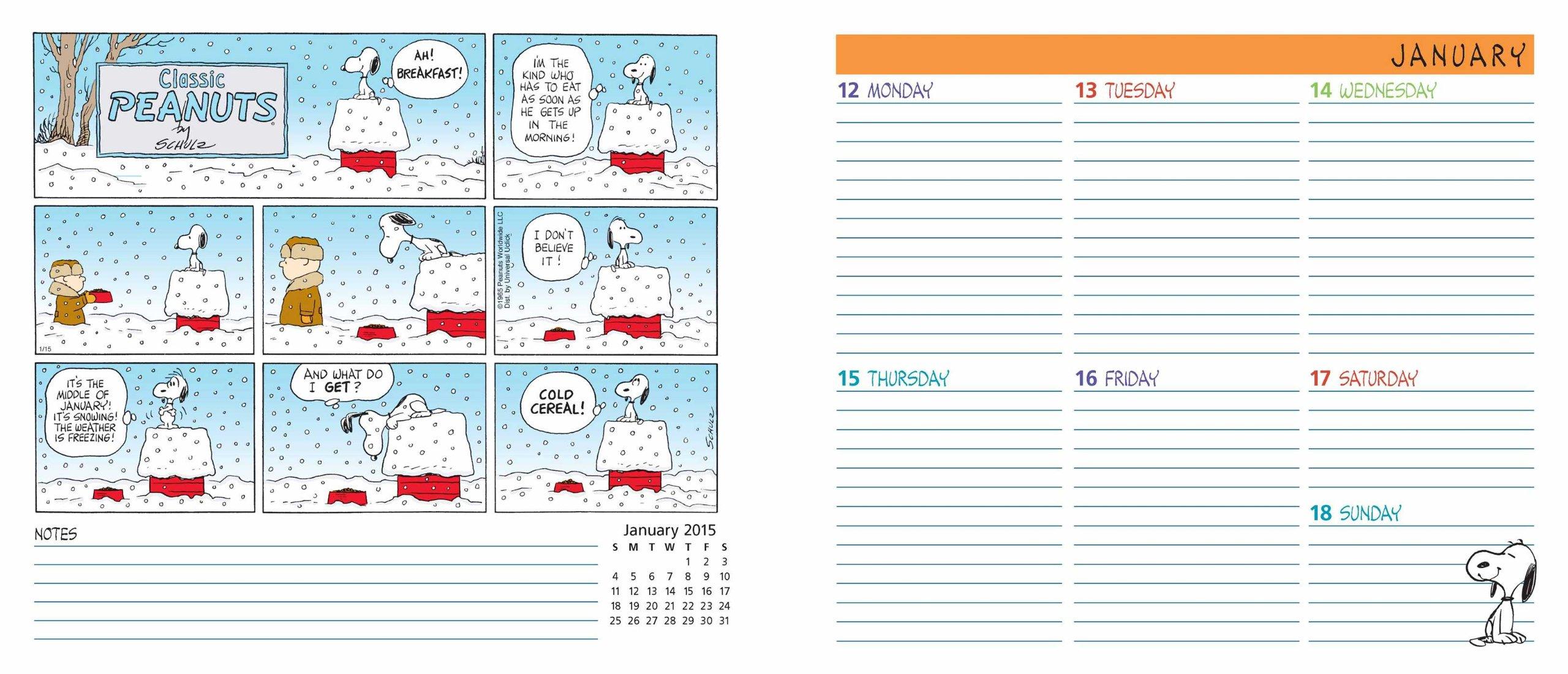 peanuts 2015 weekly planner calendar peanuts worldwide llc