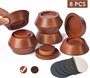 "FASONLA Bed Risers (Set of 8) Furniture Risers Lifts Height 1"", 2"", 3"" or 4"", Solid Natural Wood Risers for Bed, Furniture, Table, Sofa, Chair with Non-Slip Recessed Hole (Dark Brown Color, 1 Inch)"