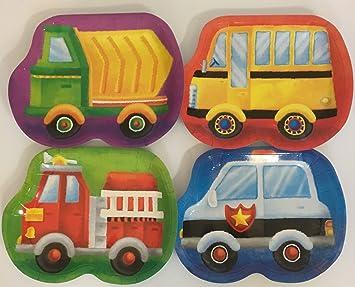 8 platos * Vehículos * Cumpleaños para niños o fiesta temática//Con Bomberos,