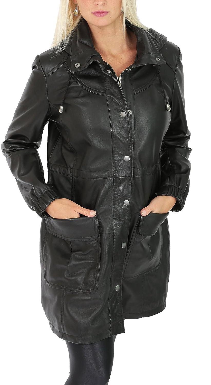 Heißer Mit Verkauf Mantel 34 Damen Leder Parka Länge Duffle wNnX0P8Ok