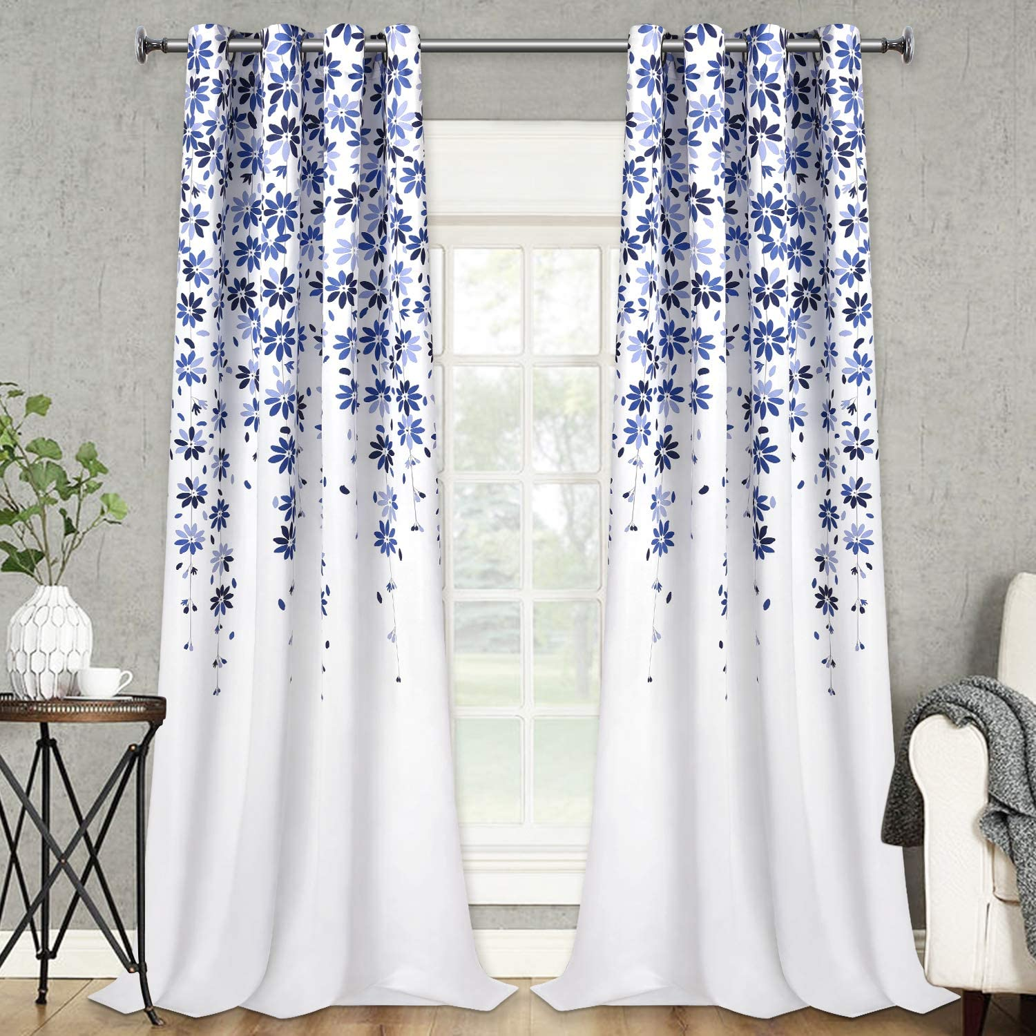 VERTKREA Flowers Window Curtain Floral Window Treatment Grommet Curtains 52 × 84 Inches Flower Drapes for Bedroom Living Room, Blue, Set of 2 Panels