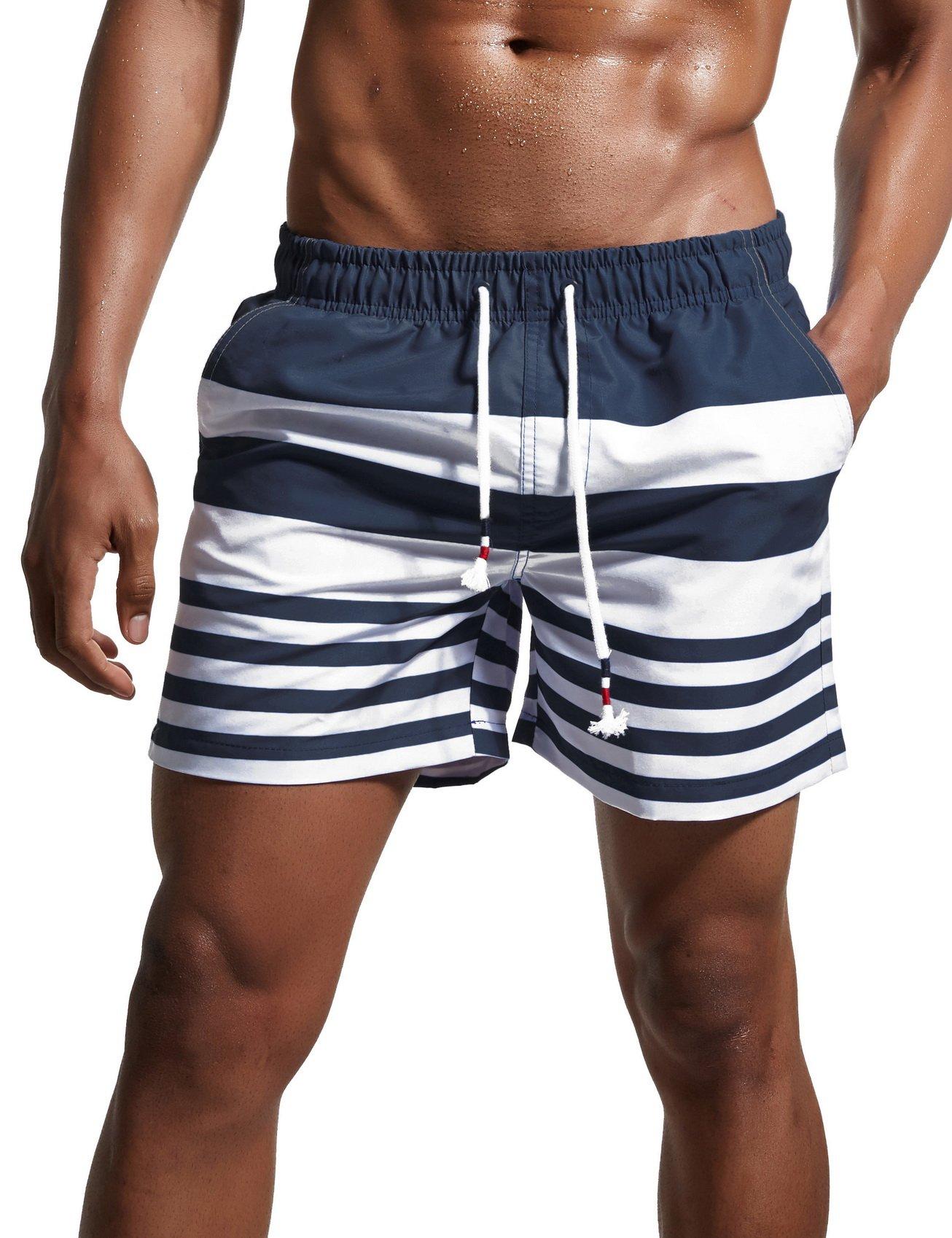 ChinFun Men's Swimsuit Swim Trunks Water Shorts Swimwear Drawstring Stripes Board Shorts Bathing Suits Mesh Lining Brief Side Pockets Navy Size XXXL