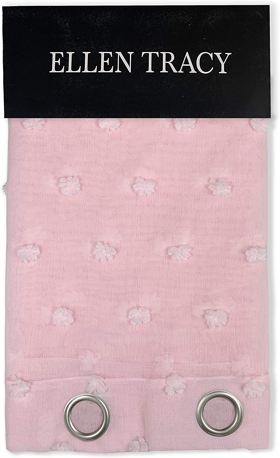 Dainty Home Ellen Tracy Cut Snowball Linen Look Sheer Grommet Window Treatment Curtain Panel Pair, 76x96, Solid Blush