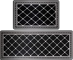 """HEBE Anti Fatigue Kitchen Rugs and Mats Set 2 Pieces Thick Cushioned Heavy Duty Standing Mats Kitchen Floor Mats and Runner Set Doormats Indoor/Outdoor(18""""x27""""+18""""x48"""", Diamond)"""