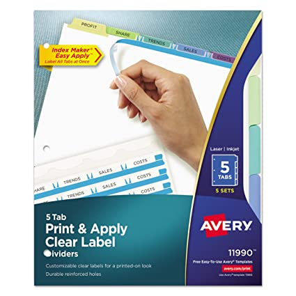 Avery 11990 Print Apply Clear Label Dividers W Color Tabs 5 Tab