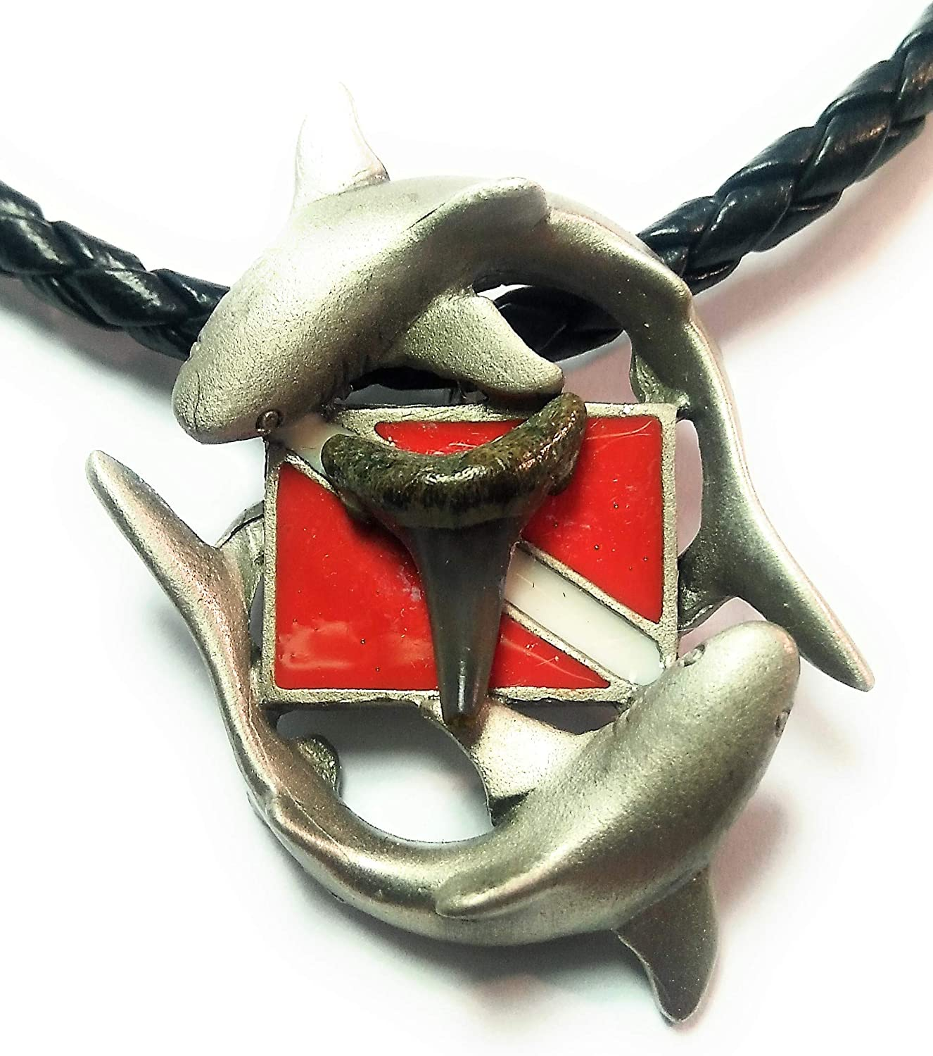 New Silver Pewter Diver's Down Flag Necklace with Prehistoric Megalodon Fossil Shark Tooth