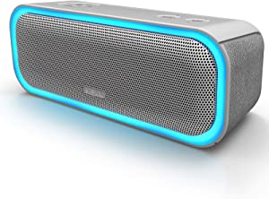 [Upgraded] DOSS SoundBox Pro Portable Wireless Bluetooth Speaker with 20W Stereo Sound, Active Extra Bass, Wireless Stereo Pairing, Multiple Colors Lights, Waterproof IPX5, 12 Hrs Battery Life - Grey