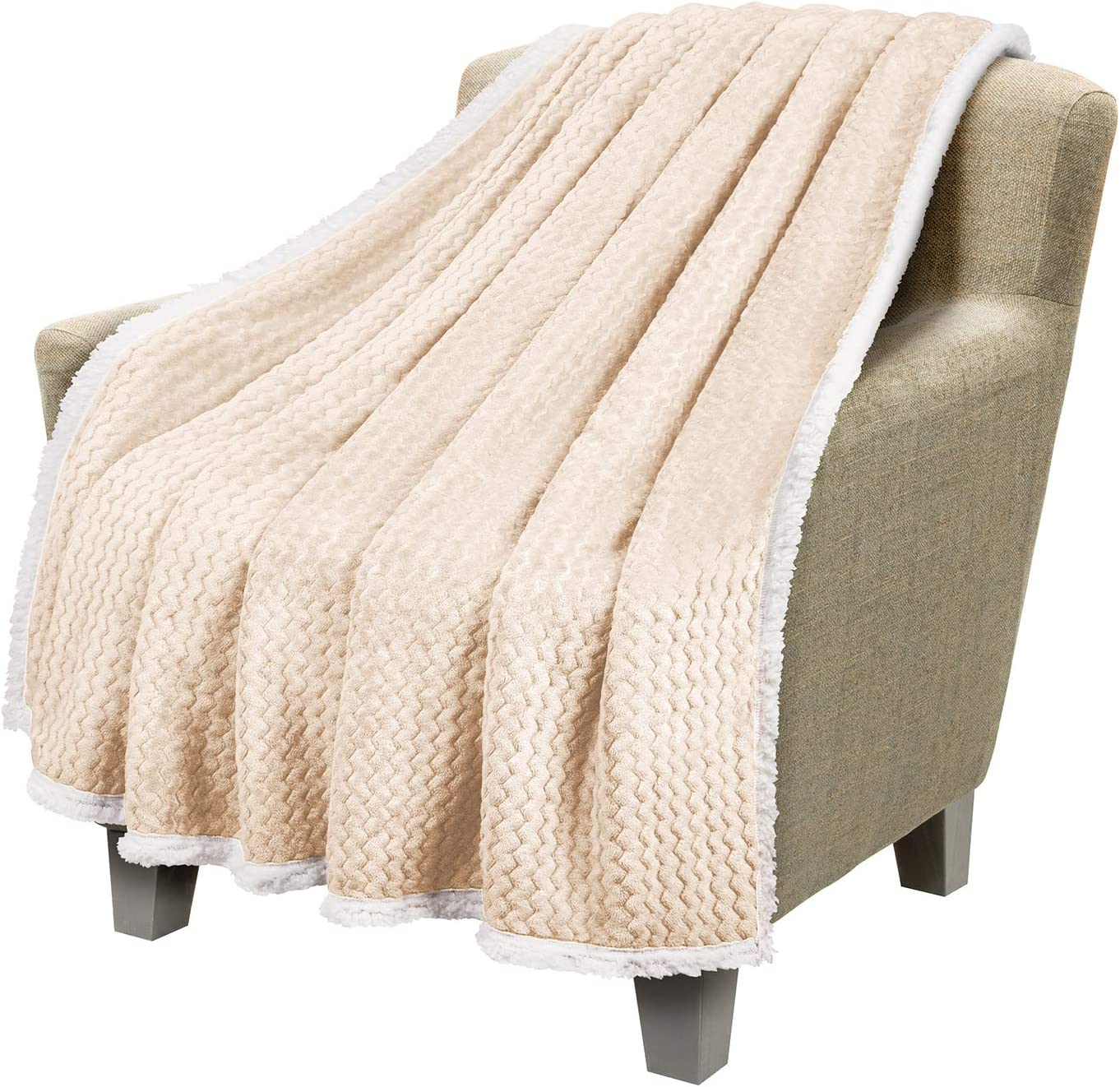 """Catalonia Sherpa Throws Blanket, Super Soft Comfy Fluffy Fuzzy Fleece Plush Blanket for Sofa Couch Bed Reversible All Season for Adults Children 50""""x60"""" Chevron Latte"""