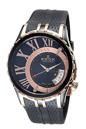 EDOX 82007 357RN NIR - Reloj de Pulsera Hombre, Caucho, Color Negro