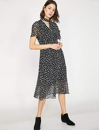 a7afd0b2880b2 Koton Kadın Günlük Elbise siyah (si̇yah desenli̇ 07d), Üretici Ölçüsü: 34