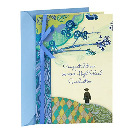 Amazon hallmark high school graduation greeting card amazon hallmark high school graduation greeting card patterned hills and tree a day to celebrate you office products m4hsunfo