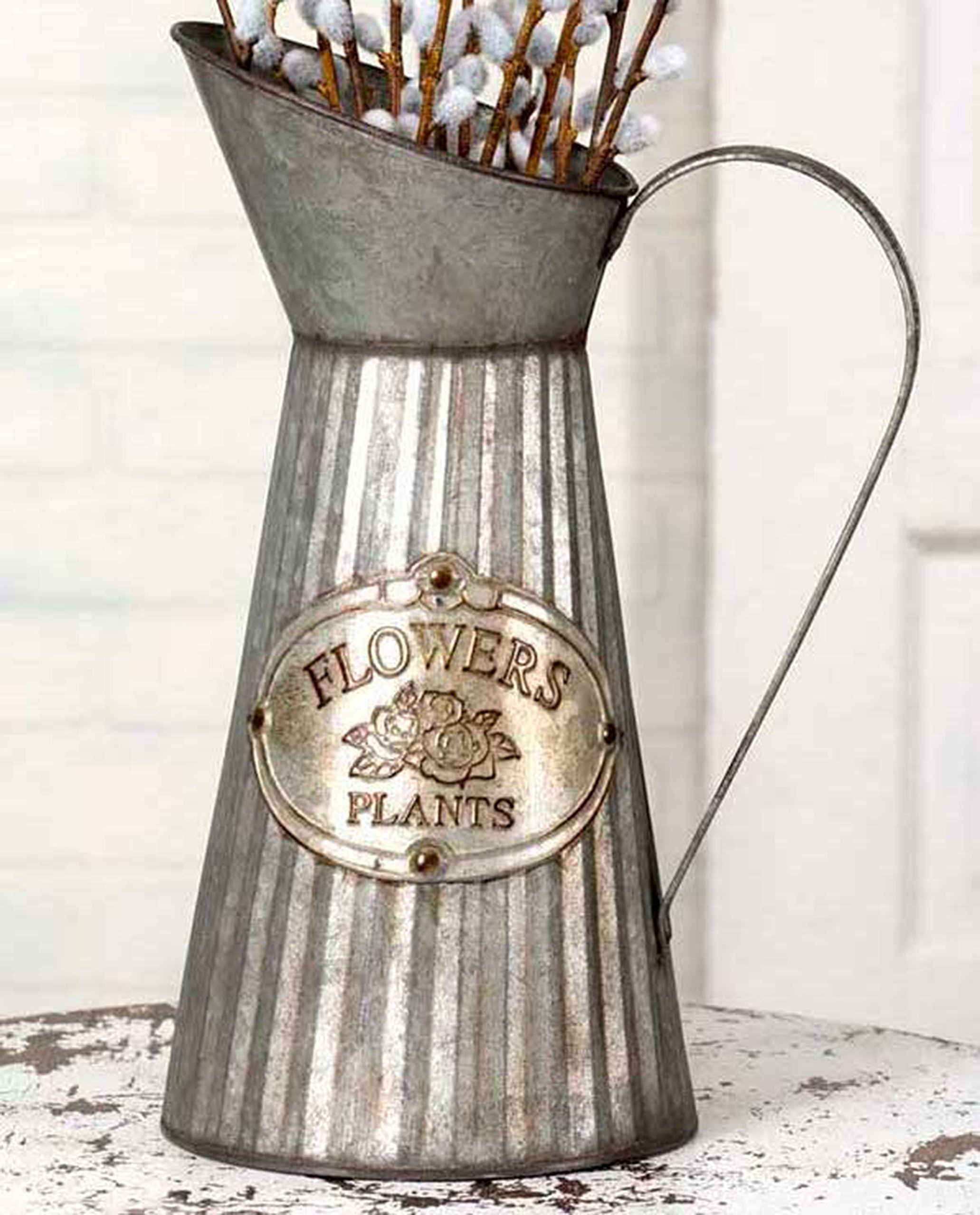 Vintage Style Metal Flower Pitcher Country Decor by Private Label