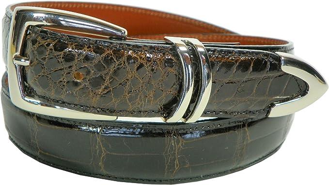 Charles Underwood Men's Genuine Alligator Belt with Silver Scottsdale Buckle - Chocolate, Size 44