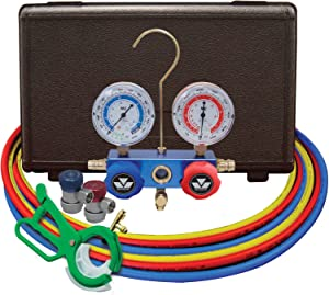 """MASTERCOOL (98661-PRO Blue R134a and R12 Dual Manifold Gauge Set with 2 Sets 60"""" Hoses, Manual Couplers and Side Mount Can Tap Valve"""
