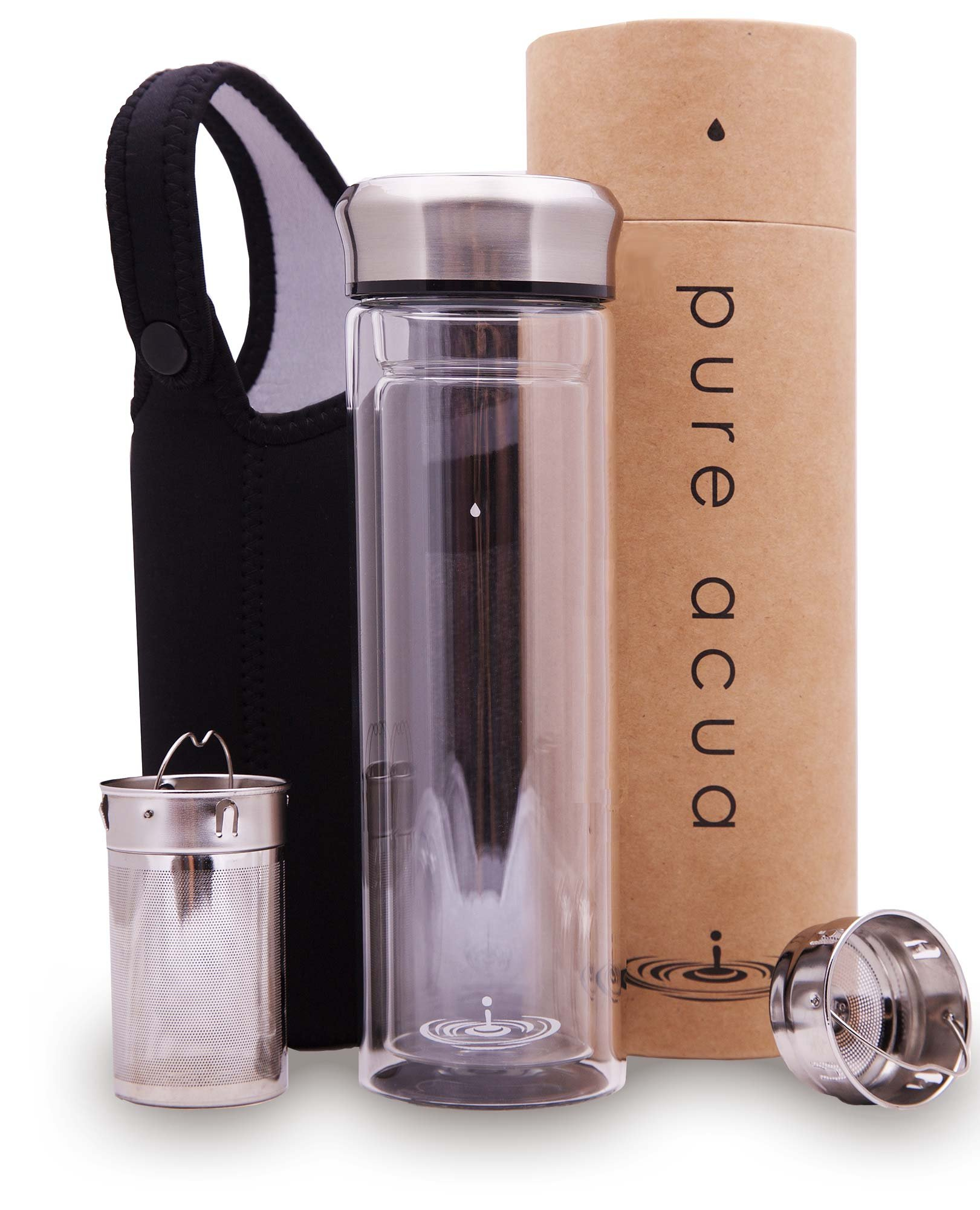 PURE ACUA Double Wall Insulated Glass Bottle-Travel Teapot comes with Two Highest Quality Stainless Steel Filters and a Carrying Sleeve. Perfect for Large or Small Leaf Teas, and Fruit Water