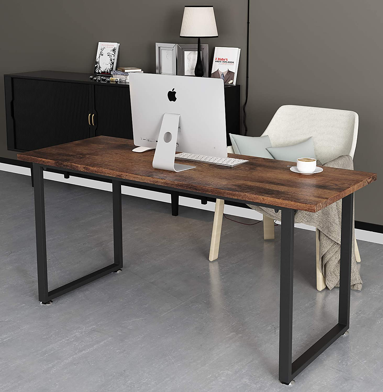 Tayene Computer Desk Study Writing Table for Home Office, Industrial Style PC Desk, Black Metal Frame (47'', Rustic Brown)