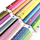 Wartoon 1900 Sheets 3 Styles 49 Colors Origami Stars Paper Double Sided and Luminous and Glitter Paper Set