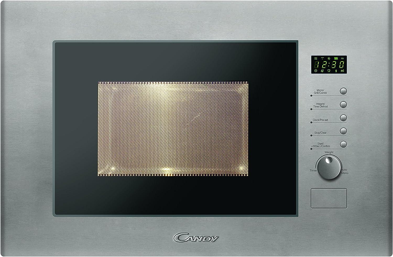Candy MIC20GDFX Microondas integrable con grill, 10 programas, display digital, plato giratorio 24,5 cm, potencia 800 W-1000 W, 20 litros, gris