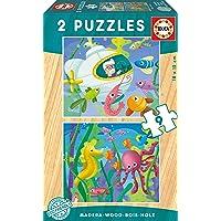 Educa Ahşap Puzzle 2x9 Parça Aquatic Animals 17617