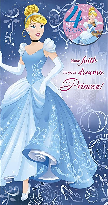 Amazon disney princess cinderella 4th birthday card and badge disney princess cinderella 4th birthday card and badge bookmarktalkfo Gallery
