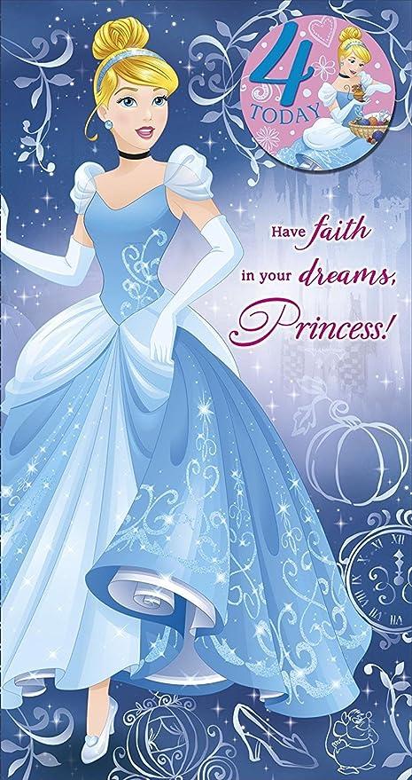 Amazon Disney Princess Cinderella 4th Birthday Card And Badge