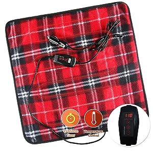 Zone Tech Car Mini Heated Travel Blanket Pad – Red Plaid Premium Quality 12V Comfortable Heating Car Mini Blanket Pad Perfect for Winter Travels