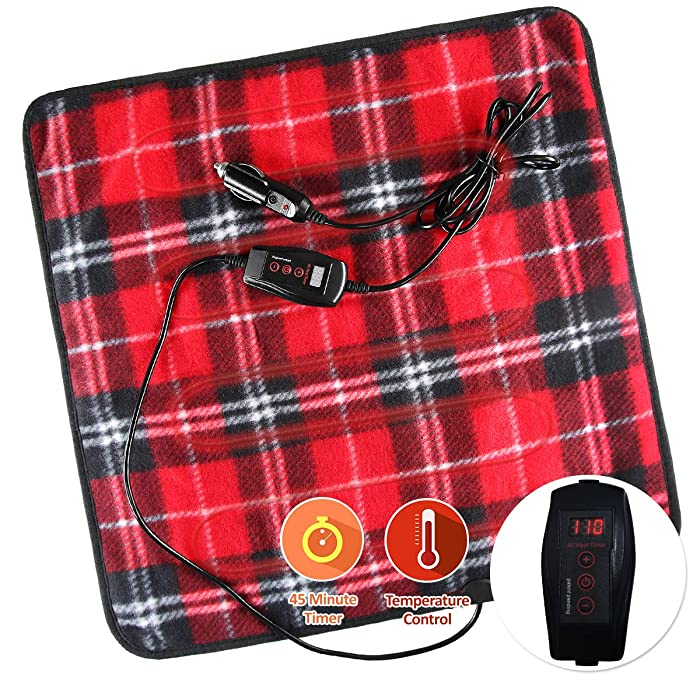 Zone Tech Car Mini Heated Travel Blanket Pad – Red Plaid Premium Quality 12V Comfortable Heating Car Mini Blanket Pad Perfect for Winter Travels
