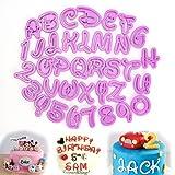 ilauke Fondant Modellierwerkzeug Alphabet Zahlen Buchstaben Ausstecher Stempel Ausstechformen Backen Kuchen lustig Tortendeko für Party Geburtstag Feier 36 teilig