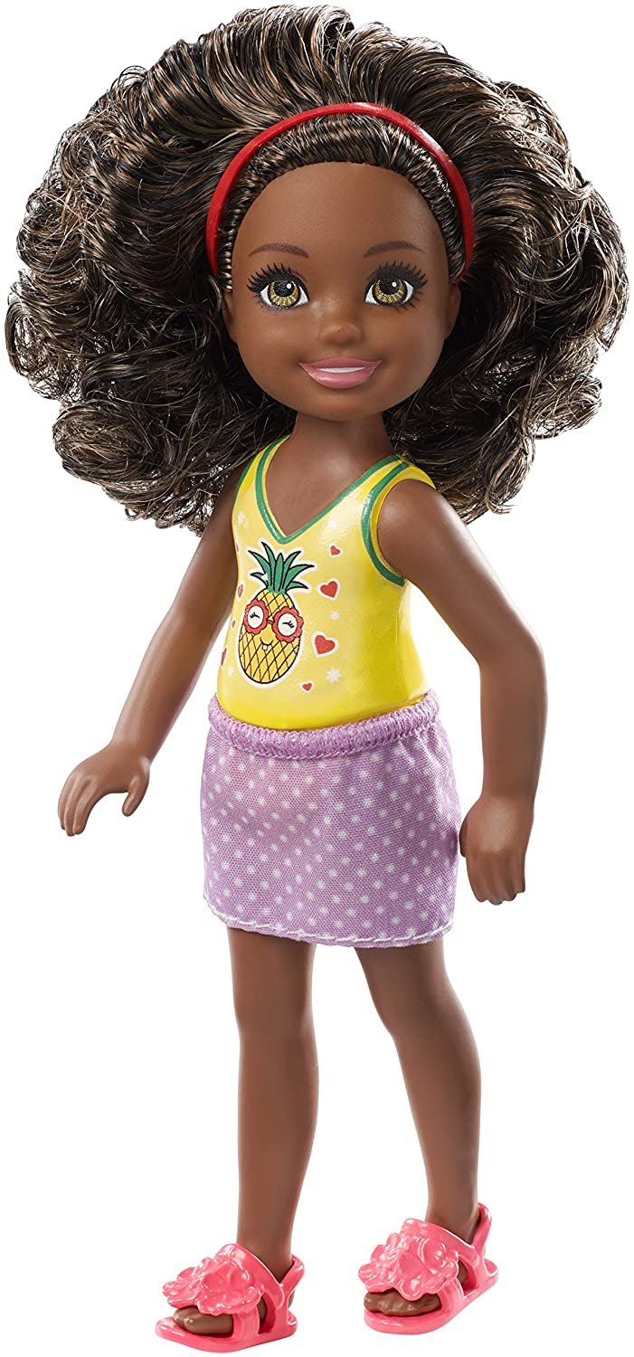 Barbie Club Chelsea Doll with Curly Brown Hair and Pineapple Print Top, FXG76 B079K6BH11