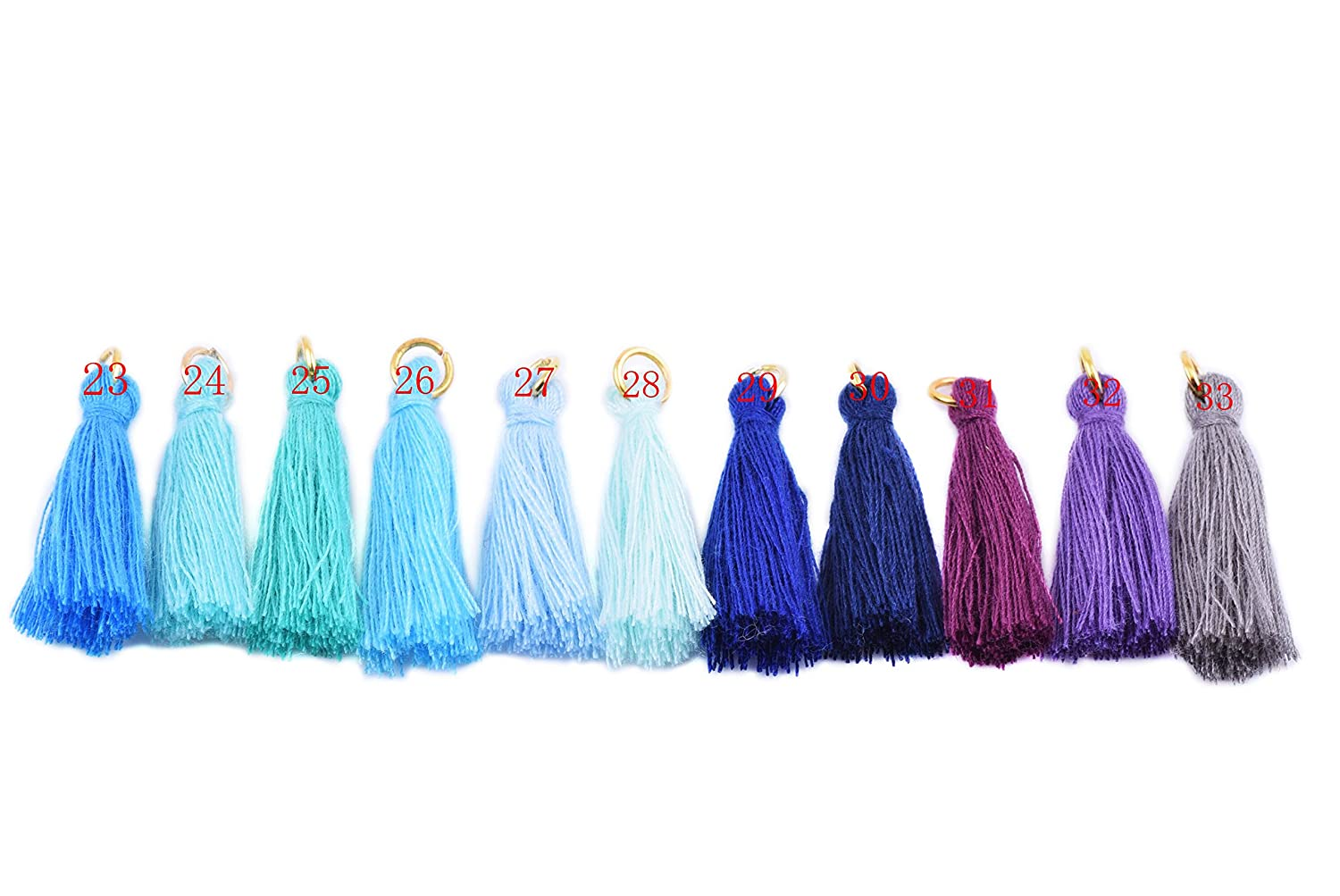 Navy 3.5cm KONMAY 50PCS 1.4 Soft Handmade Silky Tiny Craft Tassels With Golden Jump Ring for DIY Projects