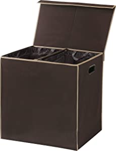 Simplehouseware Double Laundry Hamper with Lid and Removable Laundry Bags, Brown