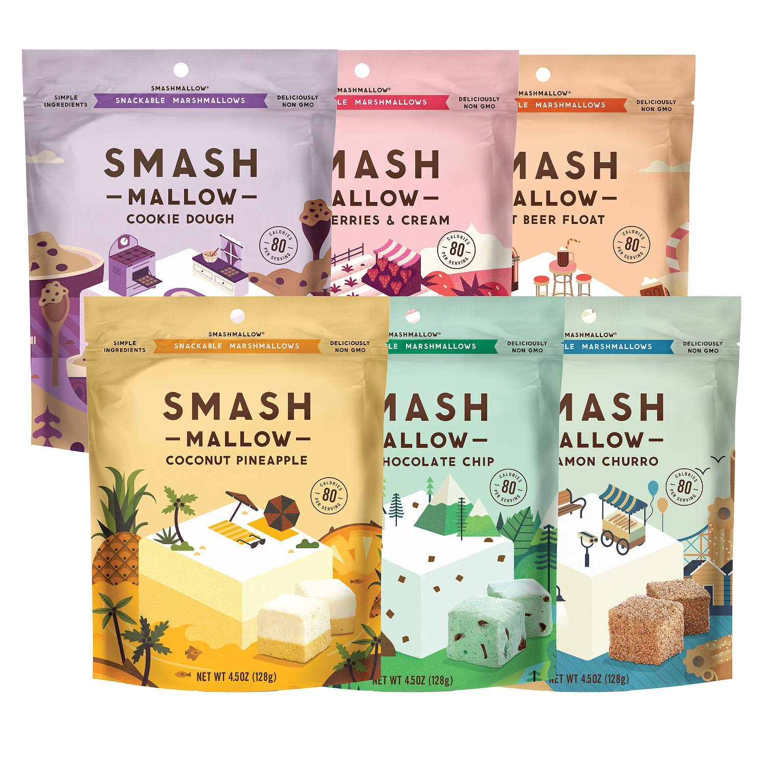 SmashMallow Mallow Out Variety | Gluten Free Marshmallows | Churro, Mint Chocolate, Strawberry, Cookie Dough, Root Beer, Coconut Pineapple | Non GMO | Organic Cane Sugar | Pack of 6 (4.5oz)