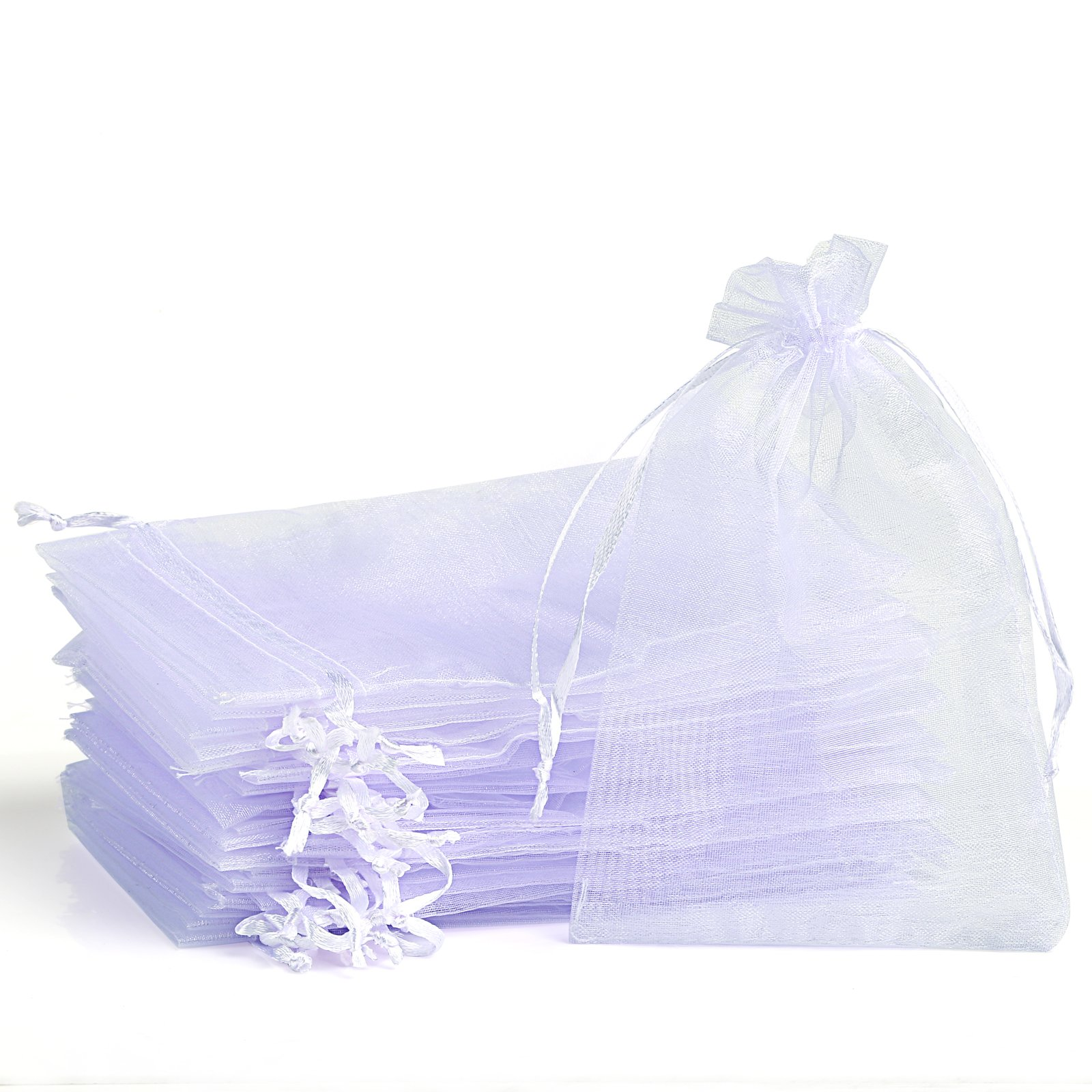 Naler Organza Drawstring Jewelry Pouches Sheer Wedding Favor Bags 120Pcs 4''x6'' - White